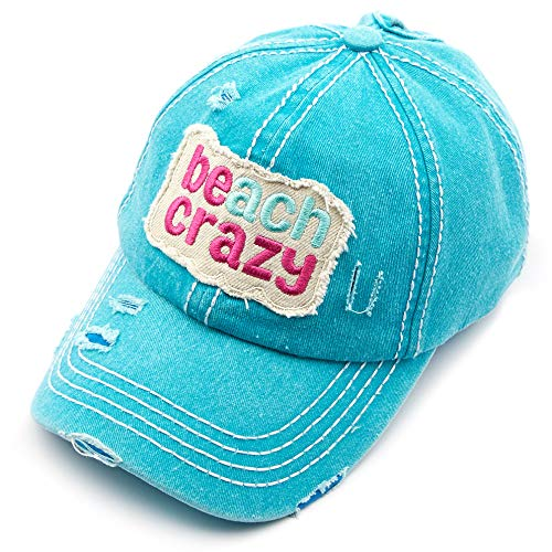 C.C Exclusives Hatsandscarf Washed Distressed Cotton Denim Ponytail Hat Adjustable Baseball Cap (BT-761) (Turquoise, Beach Crazy)