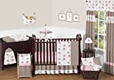 Sweet Jojo Designs Modern Pink and Brown Mod Elephant Baby Girl Bedding 11pc Crib Set without bumper