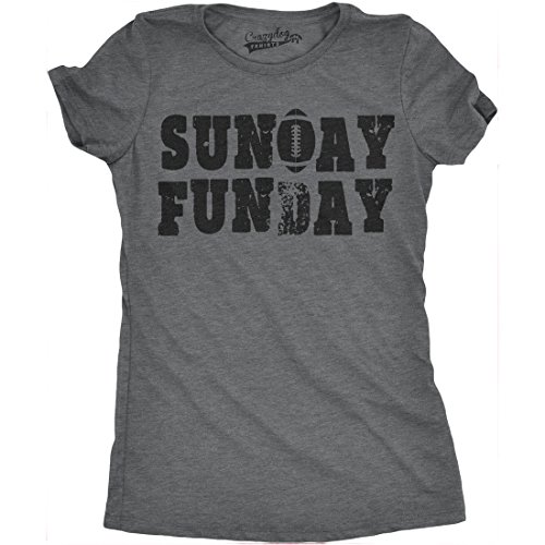 - Womens Sunday Funday Vintage Football Sports Weekend Partying T Shirt (Grey) S