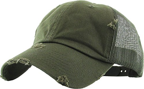 H-6140-K33 Distressed Trucker Dad Hat - Olive]()