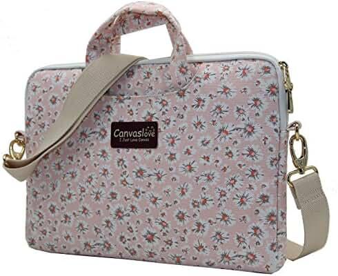 Canvaslove Pink Chrysanthemum Pattern Canvas Laptop Shoulder Messenger Bag Case Sleeve for 14 Inch 15 Inch Laptop Macbook Pro 15 Case Laptop Briefcase 15.6 Inch