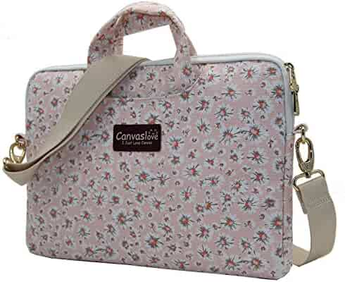 Canvaslove Pink Chrysanthemum Pattern Canvas Laptop Shoulder Messenger Bag Case Sleeve for 14 Inch 15 Inch Laptop Macbook Pro 15 Case Laptop Briefcase 15.6 Inch
