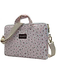 Pink Chrysanthemum Pattern Canvas Laptop Shoulder Messenger Bag Case Sleeve for 14 Inch 15 Inch Laptop Macbook Pro 15 Case Laptop Briefcase 15.6 Inch