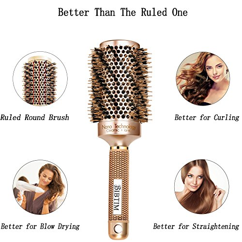 Boar bristle round brush for fine hair