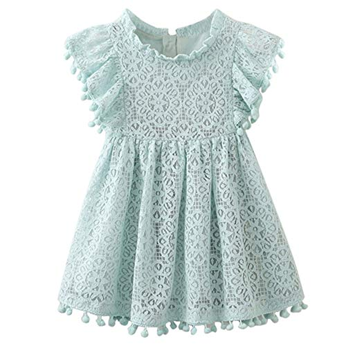 NNJXD Girls Sleeveless Lace Vintage Ruffle Sleeve Princess Birthday Party Dress 4-5 Years 02 Green