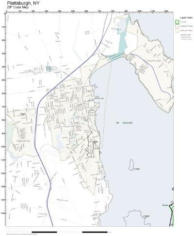 Amazon Com Zip Code Wall Map Of Plattsburgh Ny Zip Code Map Laminated Home Kitchen