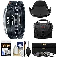 Canon EF 40mm f/2.8 STM Pancake Lens with Bag + 3 Filters + Hood + Kit for EOS 6D, 70D, 5D Mark II III, Rebel T3, T3i, T4i, T5, T5i, SL1 DSLR Cameras