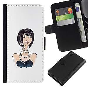 All Phone Most Case / Oferta Especial Cáscara Funda de cuero Monedero Cubierta de proteccion Caso / Wallet Case for Sony Xperia Z3 D6603 // muchacha perlas diseño de moda negro blanco