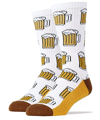 Oooh Yeah Socks Men's Luxury Combed Cotton Athletic Funny (Beer Me! white)