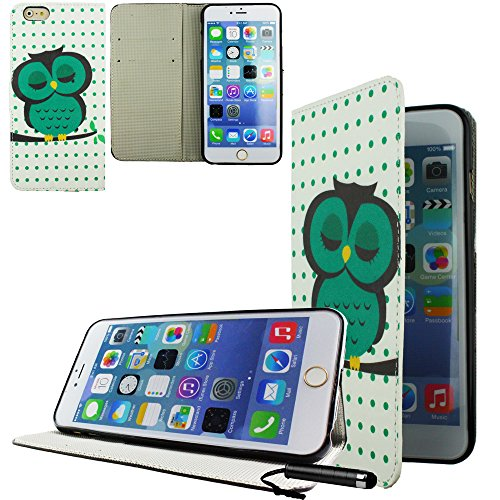 Ownstyle4you - APPLE IPHONE 6S PLUS Etui Wallet Coque Housse PREMIUM Portefeuille Eco Cuir Side OWL GREEN Protection Pare-Chocs Goutte Absorption des Chocs + Protecteur d'écran tactile