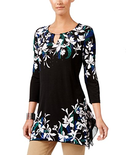 JM Collection Keyhole Tunic (Isha Floral, XL) from JM Collection
