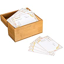 Recipe Box Wooden Bamboo for your Favorite Chef Recipes | 100 4x6 Blank Cards | BONUS 200+ page Recipe eBook | Journal Easy Healthy Recipes | By xxProducts