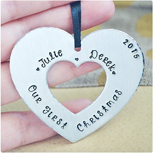 amazon com our first christmas ornament 2017 hand stamped name
