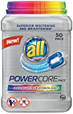 All POWERCORE Super Concentrated Laundry Detergent Pacs Plus Restores Whites and Protects Colors Tub, 50 Count