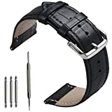omega 20mm bracelet - 24mm Width leather Watch Bands, OTOPO Leather Replacement Wrist Band Bracelet Strap for Suunto Core Watch, Suunto TRAVERSE and other watches with 24mm lug Smartwatch(24mm, Leather Black)