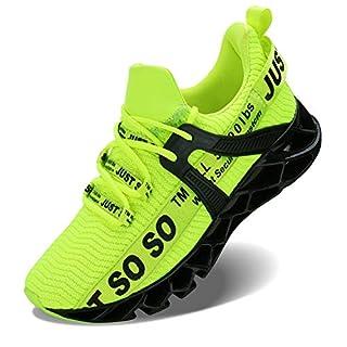 JSLEAP Men Fashion Casual Monochrome Running Sports Slip Shock Absorption Breathable Sneakers, 1black Green, 9