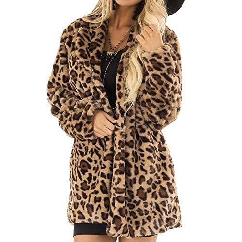 (Fashion Women Fleece Coat Winter Leopard Print Outerwear Warm Jacket (Brown, XL))