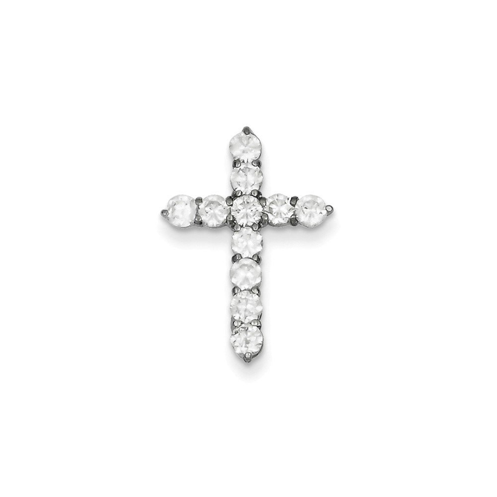 .925 Sterling Silver CZ Cross Charm Pendant