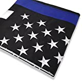 Cheap W.E.Saunders&Co.® Thin Blue Line Flag 3X5 Nylon Premium Stitched, Embroidered Stars, Grommets for Police and Law Enforcement Black Blue White