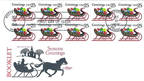(First Day Cover 1989 US #2429a Booklet Pane of 10- 25 Cent Seasons Greetings Postage Stamps )
