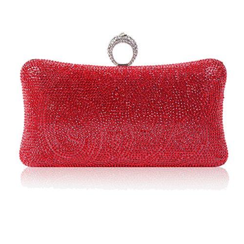 Damara Bag Red Rhinestone Shaped Womens One Pillow ring Evening 0x8aq0rwpn