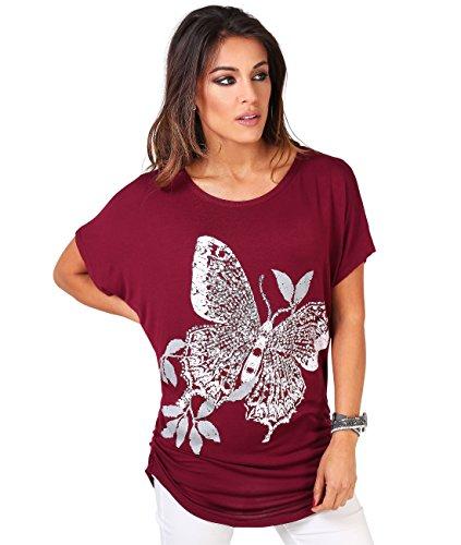Camiseta de Mujer con Manga Murciélago Estampado de Mariposa y Lentejuelas y Fruncidos Laterales Granate