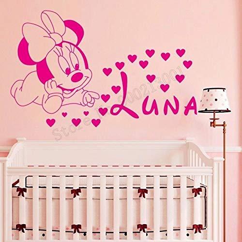 haochenli188 Etiqueta de la Pared Animal de la Historieta Minnie Mouse con Nombre Personalizado Decoración del Hogar del Corazón para Habitación de ...