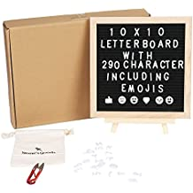 """Felt Letter Board - Changeable Wooden Message Letterboard - 290 Word Letters & Emojis, Wall Mount, Wood Frame, Free Canvas Bag - 10x10"""" - Best As Motivational Inspirational Gift for Friends"""
