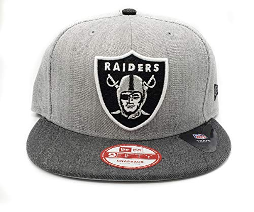 New Era Oakland Raiders Heather Action Adjustable Light Gray Snapback Hat]()