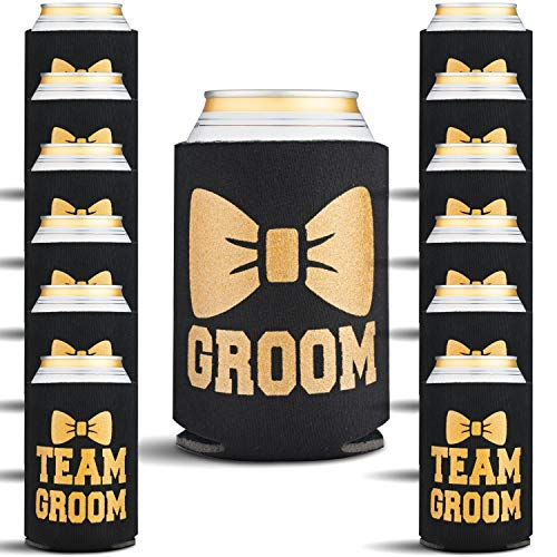 Bachelor Party Supplies for Men - 13 Pack Groomsmen and Groom Can Coolers with Bonus Game - Bachelor Party Decorations and Groomsman Gifts for Wedding, 13 Beer Can Insulated Sleeves, Black and Gold