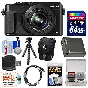 Panasonic Lumix DMC-LX100 4K Wi-Fi Digital Camera with 64GB Card + Case + Battery + Flex Tripod + Kit