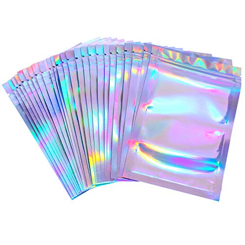 100 Pieces Resealable Smell Proof Bags Foil Pouch Bag Flat Ziplock Bag for Party Favor Food Storage (Holographic Color…