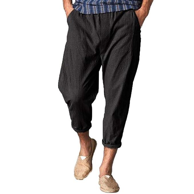 7dfcc70380e68 Amazon.com: BingYELH Men Casual Beach Trousers Linen Jean Jacket ...