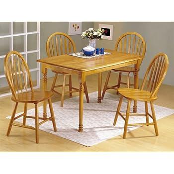 Amazon Com 5pc Oak Finish Wood Dining Table Amp 4 Windsor