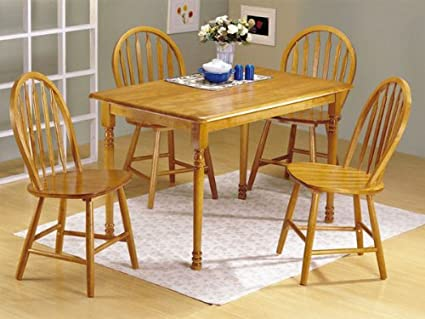 5pc Oak Finish Wood Dining Table u0026 4 Windsor Chairs Set & Amazon.com - 5pc Oak Finish Wood Dining Table u0026 4 Windsor Chairs Set ...