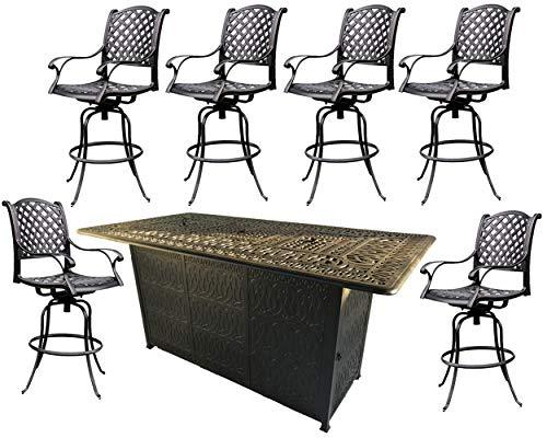 Patio bar set 7pc double burner table 6 Nassau bar stools cast aluminum furniture