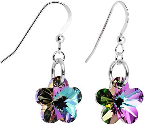 Body Candy Handcrafted 925 Sterling Silver Vitrail Flower Earrings Created with Swarovski Crystals