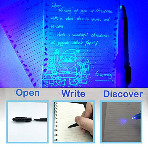SCStyle Invisible Ink Pen 28Pcs Latest Spy Pen with UV Black Light Magic Spy Marker Kid Pens for Secret Message Birthday Party,Writing Secret Message for Easter Day Halloween Christmas Party Bag Gift