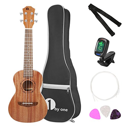 1byone 23'' Concert Mahogany Ukulele with Included Digital Tuner, 3 Picks, Strap, and Black Gig Bag by 1byone