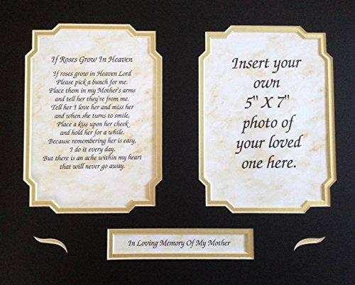 In Memory of MOTHER (Mom) Gift If Roses Grow In Heaven Memorial Poem