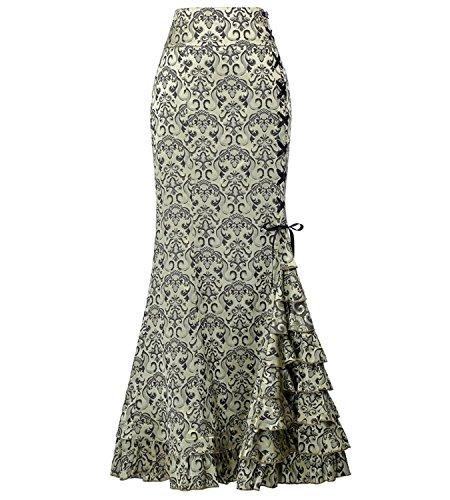 GK Vintage Dress High Waist Steampunk Victorian Womens Costume Show Girl Skirt Light Green Size 8]()