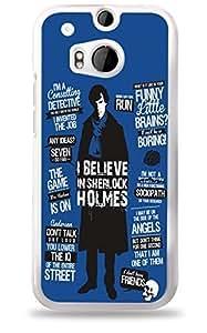 Sherlock Holmes Blue HTC One (M8) White Hardshell Case