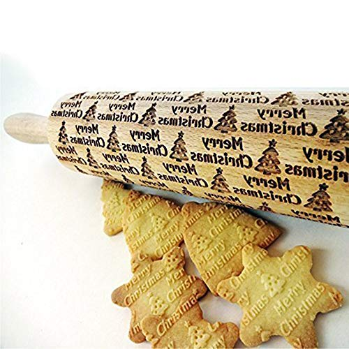 Christmas Wooden Rolling Pins SUJING Engraved Embossing Rolling Pin with Christmas Symbols for Baking Embossed Cookies (43x5cm - Tree)