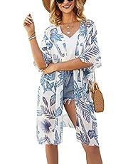 Chunoy Women Chiffon Palm Leaf Tropical Print Kimono Beach Wear Lightweight Cardigan Blue X-Large