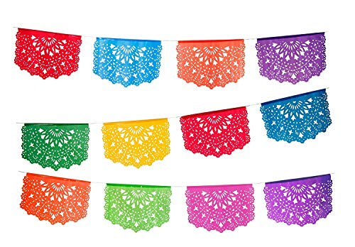 2 pack Medium Plastic Papel Picado Banner - Las Palomas Design - Each Banner includes 12 Panels and is 16 Feet Long Hanging]()