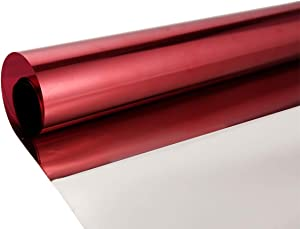Privacy Window Film One Way Mirror Adhesive Reflective Window Tint Anti UV Heat Control Glass Film for Home and Office Daytime Privacy Protection 17.7Inch x 10Feet, Silver&Red