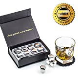 Exclusive Stainless Steel Whiskey Stones Gift Set - High Cooling Technology - Reusable Whiskey Ice Cubes - Whiskey Rocks Set - Whiskey Chilling Stones with Coasters + Stainless Steel Tongs by Amerigo