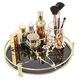 """Zosenley Makeup Organizer Tray, Decorative Glass Vanity Tray, Round Cosmetic Storage for Jewelry, Makeup, Perfume, Decor and More, Size 11.5"""", Black Marbling"""