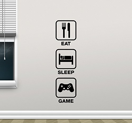 Eat Sleep Game Gaming Quote Wall Decal Video Game Gamepads Playroom Vinyl Sticker Gamer Xbox PS PC Home School College Office Kids Living Room Decor Nursery Wall Art Design Bedroom Mural 92bar by CarolGreyDecals (Image #2)