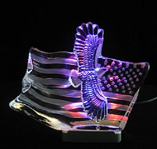 (Engraved lead crystal Eagle w/Flag on LED color light base )